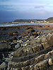 Aberystwyth can be seen to the North. The rocks in Ceredigion were laid down on the floor of a deep-sea basin during the Silurian and Ordovician period some 505 to 406 million years ago. These sedimentary rocks – mudstones, siltstones and sandstones – were uplifted and emerged above the sea during a later mountain building period. This caused them to be folded and faulted. The eroded coastline provides a unique opportunity to see these rocks and their structures.<br /> <br /> Stock Photo by Paddy Bergin