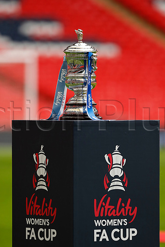 1st November 2020; Wembley Stadium, London, England; Womens FA Cup Final Football, Everton Womens versus Manchester City Womens; Womens FA Cup Final Trophy on display
