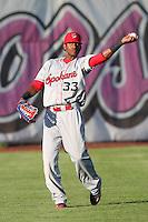 Spokane Indians outfielder Ruben Sierra,jr. #33 during a game against the Salem-Keizer Volcanoes at Volcanoes Stadium on August 10, 2011 in Salem-Keizer,Oregon. Salem-Keizer defeated Spokane 7-6.(Larry Goren/Four Seam Images)