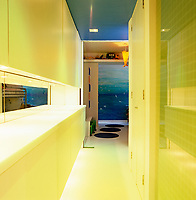 State of the art lighting along the corridor which leads to the bedrooms and bathroom allows for a change of colour and mood every 15 seconds