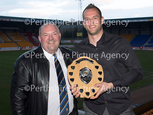 St Johnstone Player of the Year Awards...04.05.13.Barossa Street Supporters Club Player of the Year Award went to Alan Mannus presented by Stewart Morrison..Picture by Graeme Hart..Copyright Perthshire Picture Agency.Tel: 01738 623350  Mobile: 07990 594431