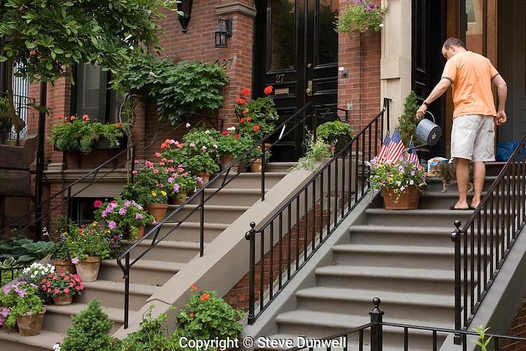 watering flowers, nr Advent Church, Beacon Hill summer details, Boston, MA