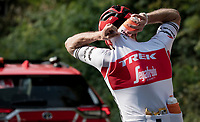 Michael Gogl (AUT/Trek-Segafredo) dropping back to the teamcar for supplies<br /> <br /> 113th Il Lombardia 2019 (1.UWT)<br /> 1 day race from Bergamo to Como (ITA/243km)<br /> <br /> ©kramon