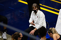 BERKELEY, CA - DECEMBER 13: Head coach Tara VanDerveer of the Stanford Cardinal talks to the team before the fourth quarter during a game between University of California-Berkeley and Stanford Women's Basketball at Haas Pavilion on December 13, 2020 in Berkeley, California.