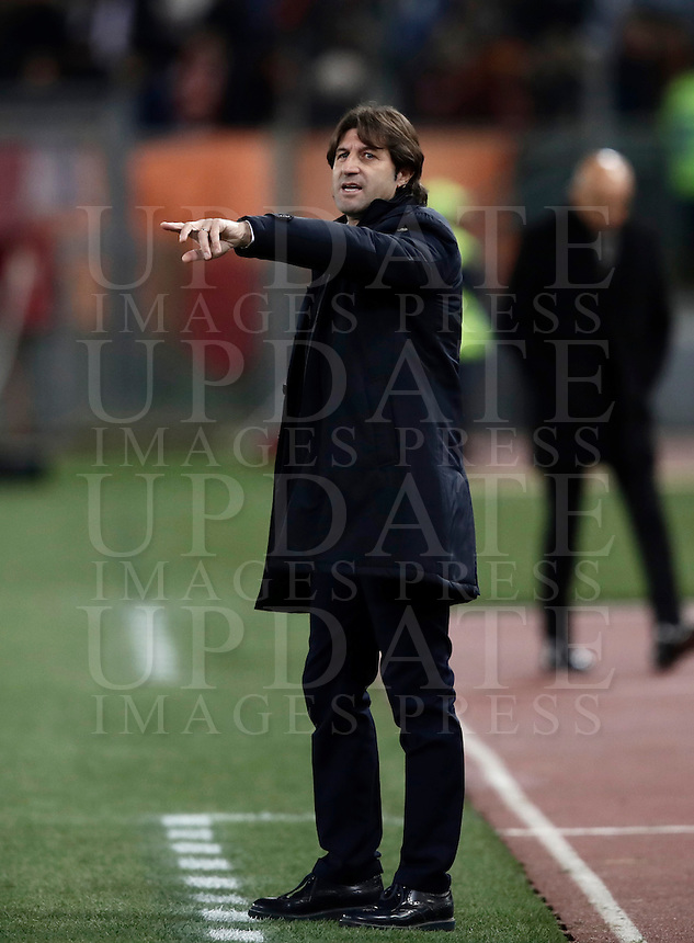 Calcio, Serie A: Roma vs Cagliari, Roma, stadio Olimpico, 22 gennaio 2017.<br /> Cagliari's coach Massimo Rastelli gestures to his players during the Italian Serie A football match between Roma and Cagliari at Rome's Olympic stadium, 22 January 2017. <br /> UPDATE IMAGES PRESS/Isabella Bonotto