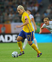Lisa Dahlkvist of team Sweden during the FIFA Women's World Cup at the FIFA Stadium in Wolfsburg, Germany on July 6thd, 2011.