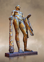 Gilded bronze 1st century AD Roman statue of Hercules found buried near Pompey's Theatre having possibly been struck by lightening and given a customary Roman burial. A Roman copy of a Hellenistic Athenian staue from around 390-370 BC, Vatican Museum Rome, Italy,  art background