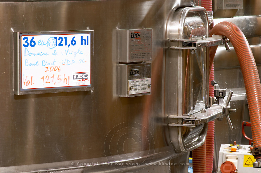 Pinot Vin de Pays. Domaine de l'Aigle. Limoux. Languedoc. Sign on tank. Stainless steel fermentation and storage tanks. France. Europe.