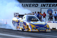Aug. 16, 2013; Brainerd, MN, USA: NHRA funny car driver Ron Capps during qualifying for the Lucas Oil Nationals at Brainerd International Raceway. Mandatory Credit: Mark J. Rebilas-