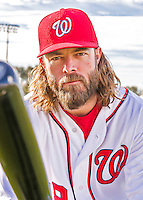 28 February 2016: Washington Nationals outfielder Jayson Werth poses for his Spring Training Photo-Day portrait at Space Coast Stadium in Viera, Florida. Mandatory Credit: Ed Wolfstein Photo *** RAW (NEF) Image File Available ***