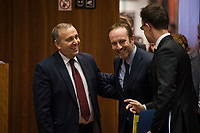 Grzegorz Schetyna, Polish Foreign Minister (L), Denmark's Foreign Affairs Minister Martin Lidegaard (C) and Hungarian Foreign Minister Peter Szijjarto arrive prior to the European Union Foreign Ministers Council at EU headquarters  in Brussels, Belgium on 29.01.2015 Federica Mogherini , EU High representative for foreign policy called extraordinary meeting on the situation in Ukraine after the attack on Marioupol.  by Wiktor Dabkowski