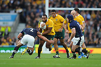 Sekope Kepu of Australia runs into Ross Ford of Scotland during the Quarter Final of the Rugby World Cup 2015 between Australia and Scotland - 18/10/2015 - Twickenham Stadium, London<br /> Mandatory Credit: Rob Munro/Stewart Communications