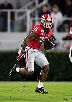 ATHENS, GA - NOVEMBER 09: Brian Herrien #35 of the Georgia Bulldogs runs with the ball during a game between Missouri Tigers and Georgia Bulldogs at Sanford Stadium on November 09, 2019 in Athens, Georgia.