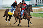 Horses work for the Kentucky Derby and Kentucky Oaks at Churchill Downs in Louisville, Kentucky on Saturday April 28, 2012.