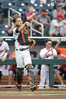 Auburn Tigers catcher Matt Scheffler (6) during Game 7 of the NCAA College World Series against the Louisville Cardinals on June 18, 2019 at TD Ameritrade Park in Omaha, Nebraska. Louisville defeated Auburn 5-3. (Andrew Woolley/Four Seam Images)
