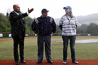 17 July 2011: Umpire Fabien Carette Legrand is seen (center) next to Didier Seminet (left) and Stephanie  Raulet (right) after the 2011Challenge de France final match won 6-4 by the Rouen Huskies over the Savigny Lions, at Stade Pierre Rolland, in Rouen, France.