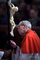 Cardinal Santos Abril y Castello,Pope Francis the ceremony of the Good Friday Passion of the Lord Mass in Saint Peter's Basilica at the Vatican.March 30, 2018