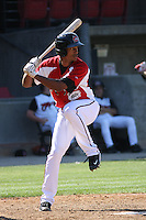 Jerry Gil #24 of the Carolina Mudcats at bat during a game against the Chattanooga Lookouts on on May 9, 2010 in Zebulon, NC.