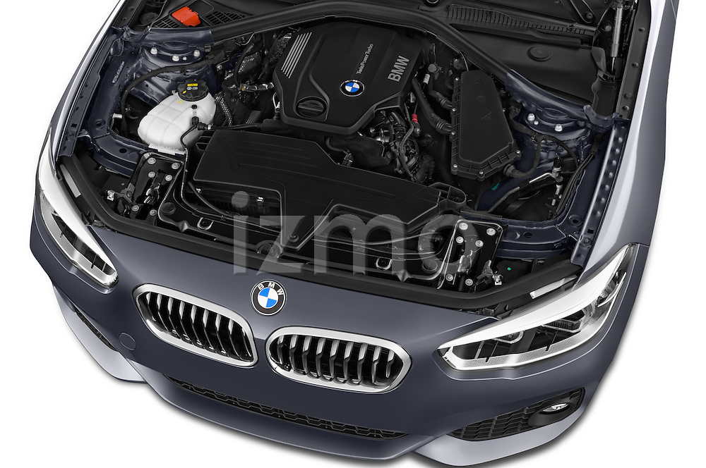 Car Stock 2015 BMW 1 Series M Sport 5 Door Hatchback Engine high angle detail view