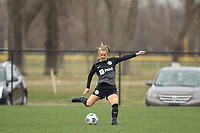 LOUISVILLE, KY - MARCH 13: Lauren Milliet #2 of Racing Louisville FC passes the ball during warmups before a game between West Virginia University and Racing Louisville FC at Thurman Hutchins Park on March 13, 2021 in Louisville, Kentucky.