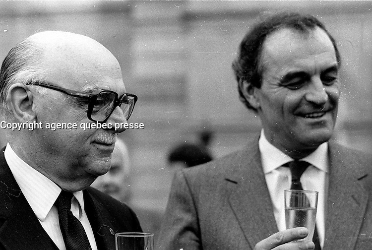 Montreal Mayor Jean Drapeau (L) and Charles Dutoit, October 2, 1986