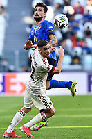 Francesco Acerbi of Italy and Alexis Saelemaekers of Belgium compete for the ball during the Uefa Nations League 3rd and 4th place final football match between Italy and Belgium at Juventus stadium in Torino (Italy), October 10th, 2021. Photo Image Sport / Insidefoto