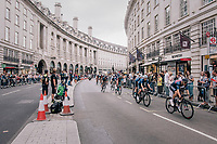 peloton through Regent Street / central London<br /> <br /> Stage 8: London to London (77km)<br /> 15th Ovo Energy Tour of Britain 2018
