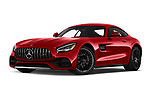 Stock pictures of low aggressive front three quarter view of 2020 Mercedes Benz AMG-GT - 3 Door Coupe Low Aggressive
