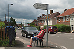 Jane (surname ?) needs vitamin D from sunlight. SW20 South London  2016.<br /> suburban<br /> <br /> Jane suburban London SW20, a vitamin D deficiency sufferer, her council flat has no garden