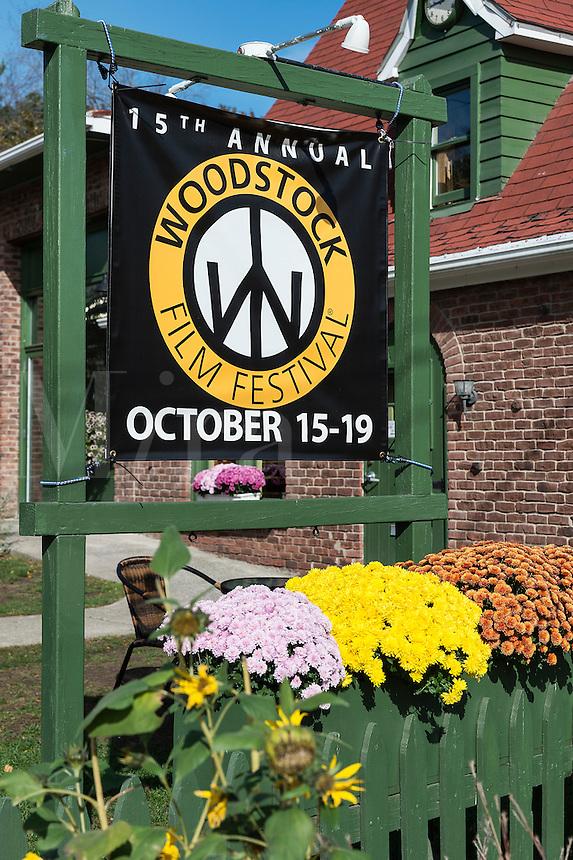 Film Festival sign, Woodstock, New York, USA
