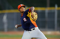 Starting pitcher Joshua James (31) of the Greeneville Astros delivers a pitch in a game against the Bristol Pirates on Saturday, July 26, 2014, at DeVault Memorial Stadium in Bristol, Virginia. Greeneville won, 4-0 in Game 2 of a doubleheader. (Tom Priddy/Four Seam Images)