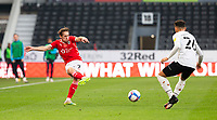 7th November 2020; Pride Park, Derby, East Midlands; English Football League Championship Football, Derby County versus Barnsley; Callum Brittain of Barnsley passing the ball forward past Lee Buchanan of Derby County