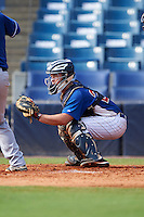 Catcher Ty Duvall (20) of Lebanon High School in Lebanon, Ohio playing for the Chicago Cubs scout team during the East Coast Pro Showcase on July 30, 2015 at George M. Steinbrenner Field in Tampa, Florida.  (Mike Janes/Four Seam Images)