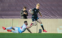 24th April 2021; Liberty Stadium, Swansea, Glamorgan, Wales; Rainbow Cup Rugby, Ospreys versus Cardiff Blues; Mat Protheroe of Ospreys evades the  tackle by Owen Lane of Cardiff Blues