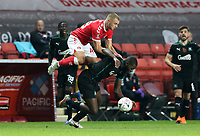 Charlie Barker of Charlton Athletic fouls Frank Nouble of Plymouth Argyle during Charlton Athletic vs Plymouth Argyle, Emirates FA Cup Football at The Valley on 7th November 2020