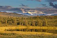 Tundra kettle pond, foothills of the Alaska Range mountains, Interior, Alaska.