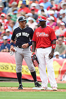 New York Yankees Alex Rodriguez (13) and Ryan Howard (6) during a Spring Training game against the Philadelphia Phillies on March 27, 2015 at Bright House Field in Clearwater, Florida.  New York defeated Philadelphia 10-0.  (Mike Janes/Four Seam Images)