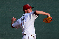 Wisconsin Timber Rattlers pitcher Aaron Ashby (17) warms up in the bullpen prior to a Midwest League game against the Burlington Bees on August 3, 2018 at Fox Cities Stadium in Appleton, Wisconsin. Wisconsin defeated Burlington 5-4. (Brad Krause/Four Seam Images)