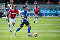 SAN JOSE, CA - APRIL 24: Carlos Fierro #7 of the San Jose Earthquakes dribbles the ball during a game between FC Dallas and San Jose Earthquakes at PayPal Park on April 24, 2021 in San Jose, California.