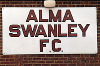 Entrance sign at Alma Swanley Football Club, Green Court Road, Crockenhill, Kent, pictured on 28th April 1988
