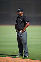 Umpire Pete Rivera during a game between the GCL Yankees West and GCL Yankees East on August 3, 2016 at the Yankees Complex in Tampa, Florida.  GCL Yankees East defeated GCL Yankees West 12-2.  (Mike Janes/Four Seam Images)