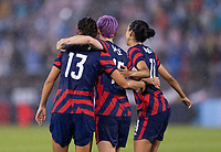 EAST HARTFORD, CT - JULY 1: Christen Press #11 of the USWNT celebrates a goal with Megan Rapinoe #15 and Alex Morgan #13 during a game between Mexico and USWNT at Rentschler Field on July 1, 2021 in East Hartford, Connecticut.