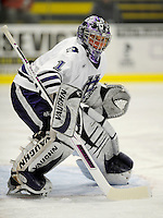 30 December 2007: Holy Cross Crusaders' goaltender Ian Dams, a Sophomore from Manotick, Ontario, in action against the Western Michigan University Broncos at Gutterson Fieldhouse in Burlington, Vermont. The teams skated to a 1-1 tie, however the Broncos took the consolation game in a 2-0 shootout to win the third game of the Sheraton/TD Banknorth Catamount Cup Tournament...Mandatory Photo Credit: Ed Wolfstein Photo