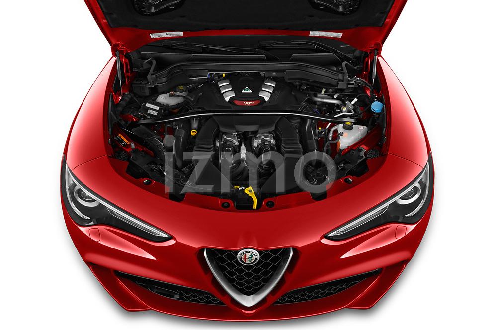 High angle engine detail of a 2019 Alfaromeo Stelvio-Quadrifoglio - 5 Door SUV Engine