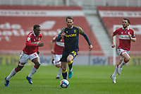13th March 2021; Riverside Stadium, Middlesbrough, Cleveland, England; English Football League Championship Football, Middlesbrough versus Stoke City; Nick Powell of Stoke City holds off Jonathan Howson and Marc Bola of Middlesbrough