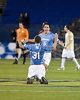 North Carolina forward Brian Shriver (31) and North Carolina midfielder Michael Callahan (5) celebrate the victory.  North Carolina Tar Heels defeated Wake Forest Demon Deacons 1-0 in the semifinal match of the NCAA Men's College Cup at Pizza Hut Park in Frisco, TX on December 12, 2008.  Photo by Wendy Larsen/isiphotos.com