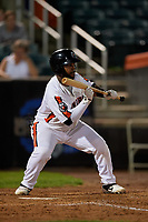 Aberdeen IronBirds Lenin Rodriguez (50) squares to bunt during a NY-Penn League game against the Vermont Lake Monsters on August 19, 2019 at Leidos Field at Ripken Stadium in Aberdeen, Maryland.  Aberdeen defeated Vermont 6-2.  (Mike Janes/Four Seam Images)