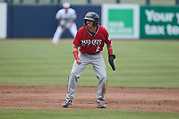 Gabe Holt (2) of the Carolina Mudcats takes his lead off of second base against the Kannapolis Cannon Ballers at Atrium Health Ballpark on June 13, 2021 in Kannapolis, North Carolina. (Brian Westerholt/Four Seam Images)
