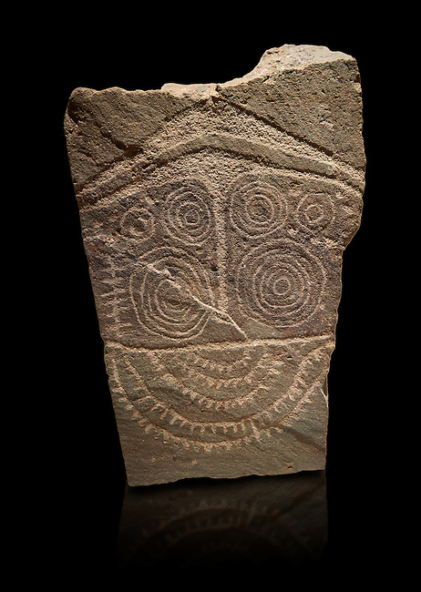 """Prehistoric  petroglyphs, rock carvings, of a geometric design carved by the the prehistoric Camuni people in the Copper Age around the 3rd milleneum BC, Stele """"Cemmo 10""""  excavated in 2000 from cut 35 of the prehistoric sanctuary Massi dei Cemmo Archaeological Site. Museo Nazionale della Preistoria della Valle Camonica ( National Museum of Prehistory in Valle Cominca ), Lombardy, Italy. Grey Art Background"""