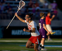 Karissa Taylor (20) of Maryland celebrates a goal during the NCAA Championship held in Johnny Unitas Stadium at Towson University in Towson, MD.  Maryland defeated Northwestern, 13-11, to win the title.